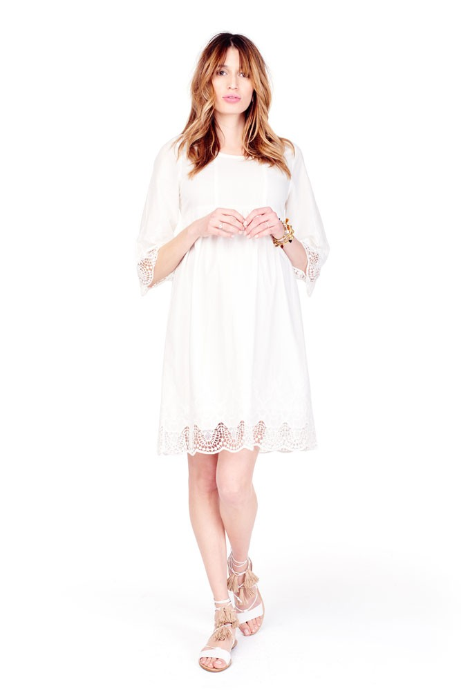 Ingrid & Isabel Lace Trim Bell Sleeve Maternity Dress (Ivory)