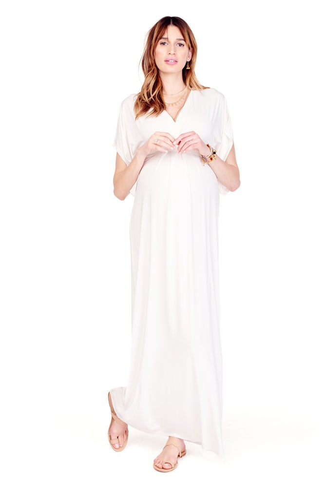 Ingrid & Isabel Kimono Maxi Maternity Dress (Ivory)