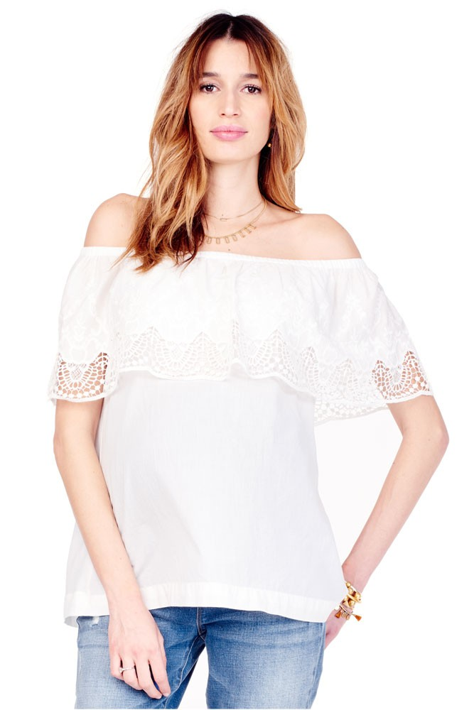 Ingrid & Isabel Off-the-Shoulder Lace Maternity Top (Ivory)
