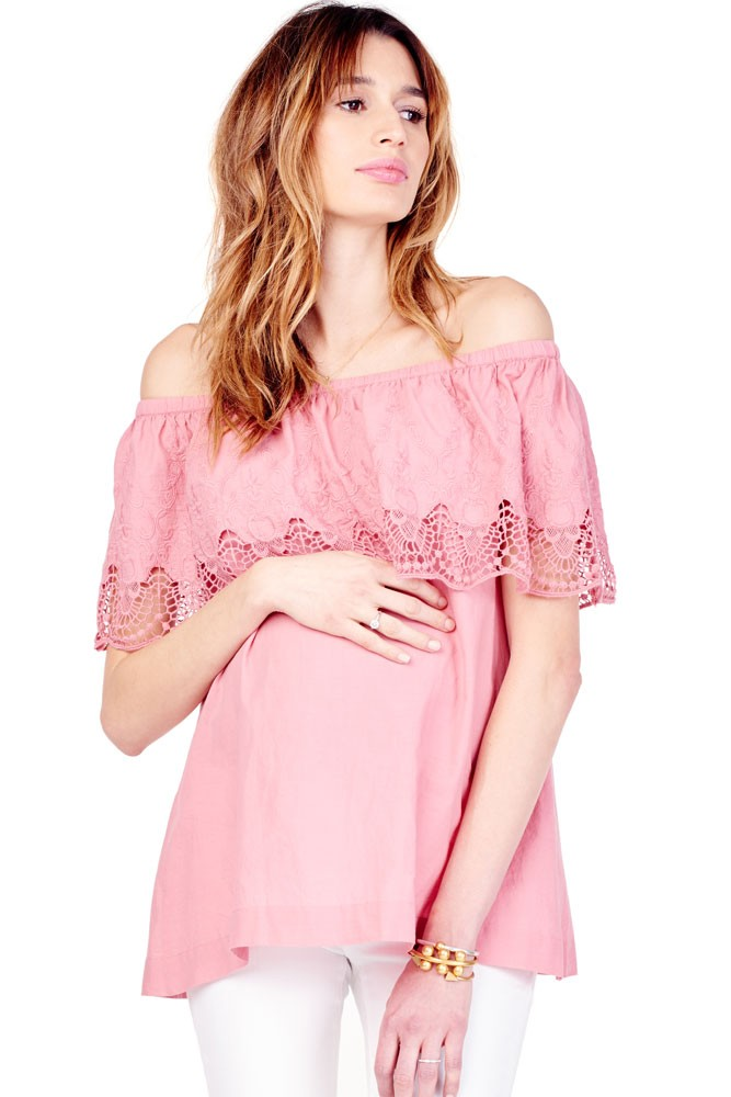 Ingrid & Isabel Off-the-Shoulder Lace Maternity Top (Rose)
