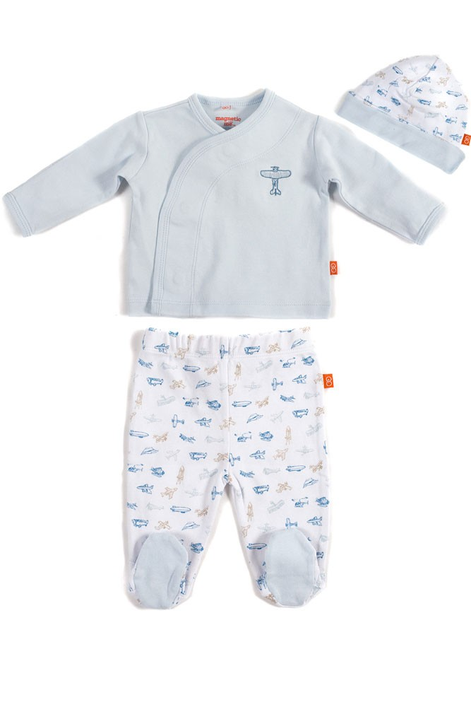 Magnetic Me™ by Magnificent Baby Boy 3-Piece Kimono Set (Airplane)