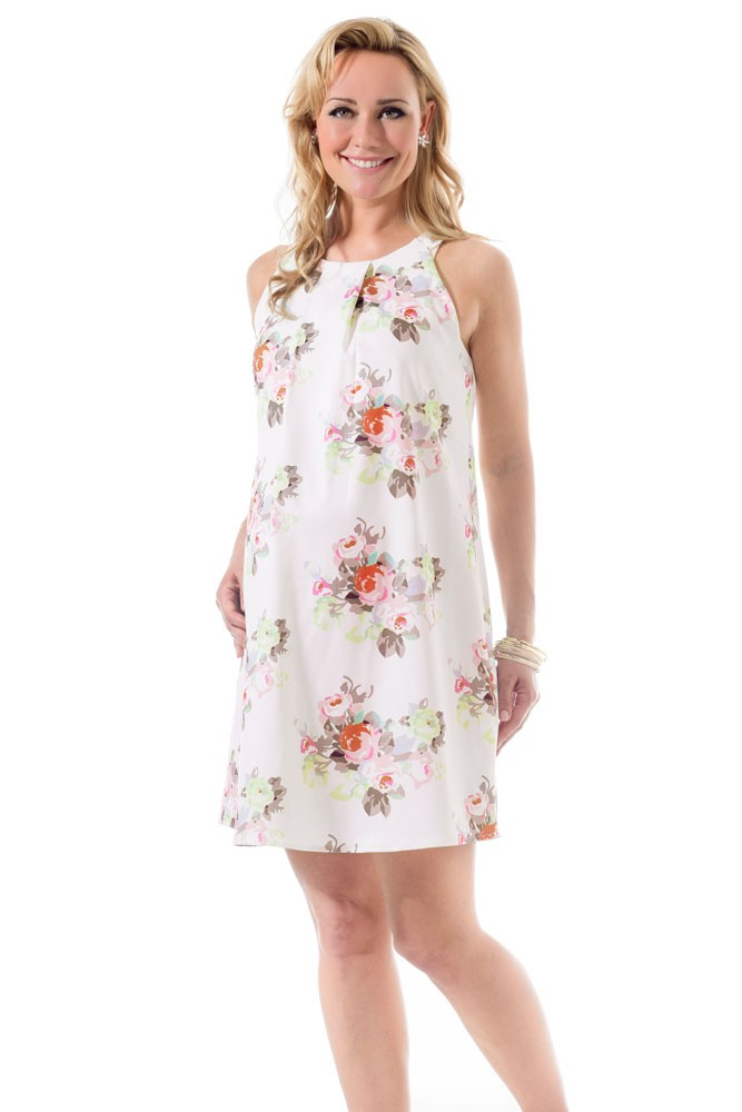 Bella Pleated Woven Maternity & Nursing Dress (Cream Floral)