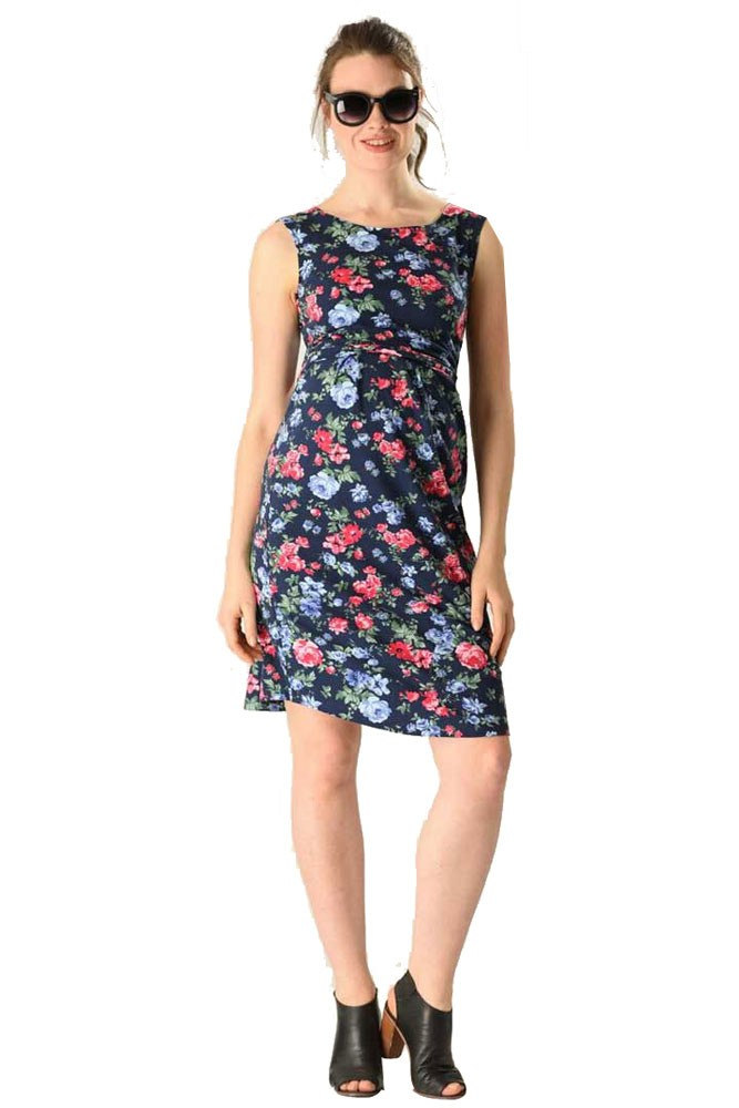 Kate Flower Power Maternity & Nursing Dress (Blue & Red Floral)