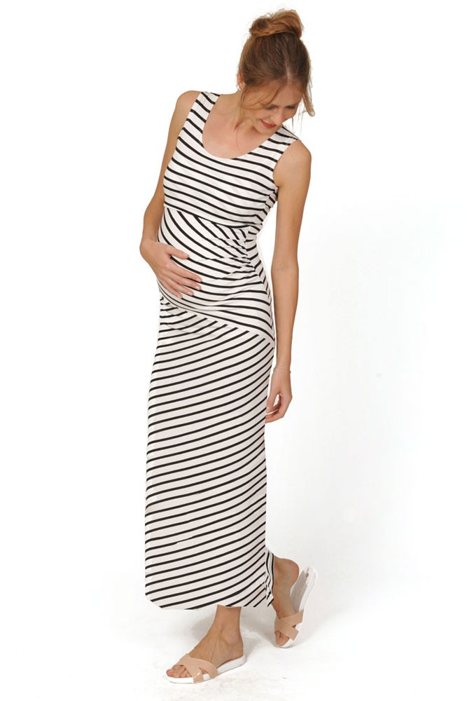 Abby Striped Maternity & Nursing Maxi Dress (Black & White Stripes)