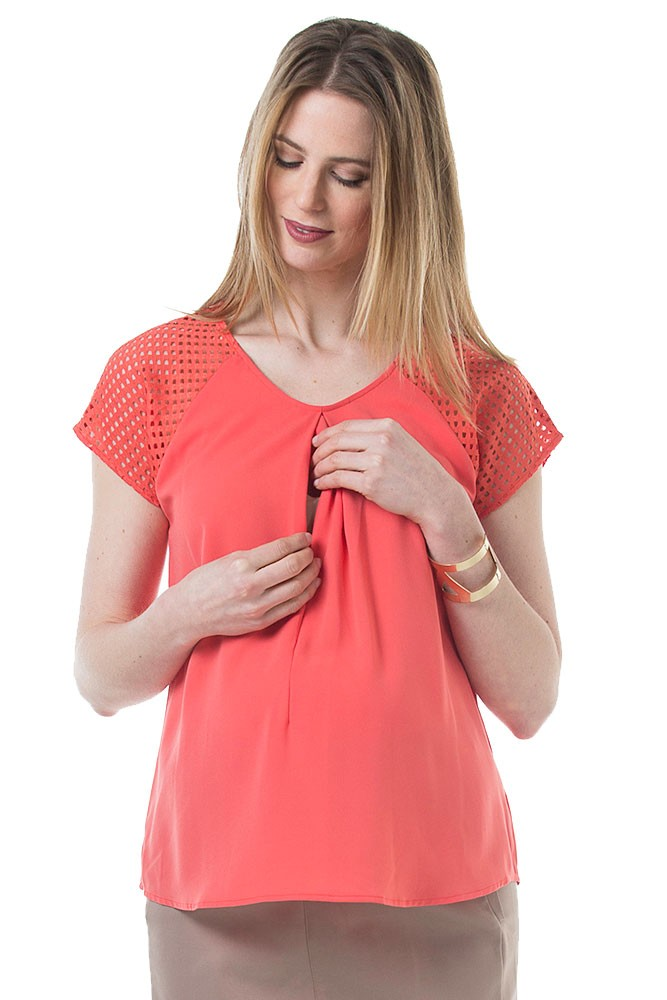 Christiane Grid Crochet Sleeve Woven Nursing Top (Coral)