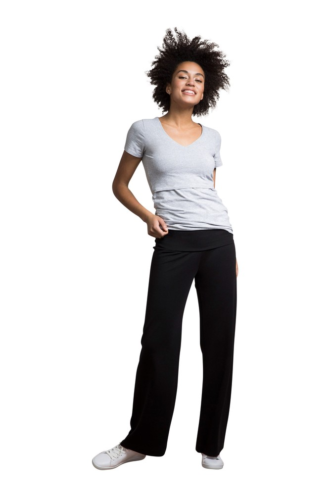Boob Design Once-On Never-Off Wide Light Weight Ponte Maternity Pants (Black)