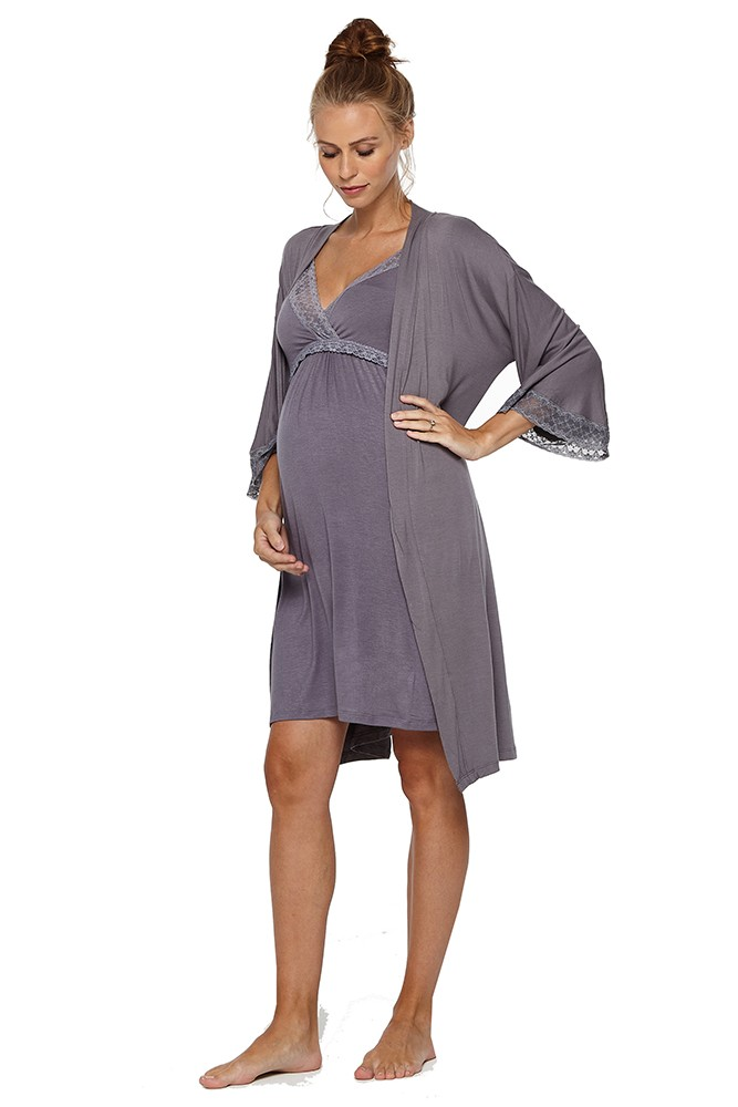 Belabumbum Belly Budoir 2-Piece Maternity & Nursing Chemise & Robe Set (Gunmetal)