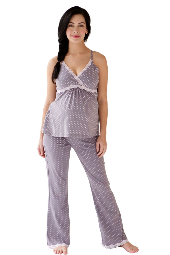 Belabumbum Dottie Maternity & Nursing Cami & Pant Set (Grey Dot)