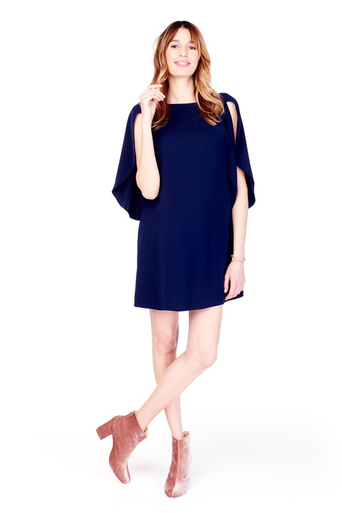 Tulip Shift Maternity Dress (True Navy)