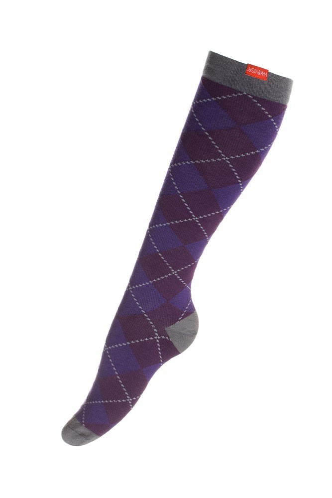 Vim & Vigr 20-30 mmHg Women's Stylish Compression Socks - Cotton (Purple & Charcoal Argyle)