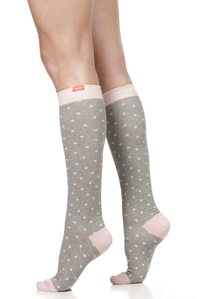 Vim & Vigr 20-30 mmHg Women's Stylish Compression Socks - Cotton (Heather Grey & Pink Petite Dot)