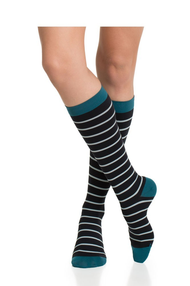 Vim & Vigr 20-30 mmHg Women's Stylish Compression Socks - Nylon (Mint, Black & Turquoise)