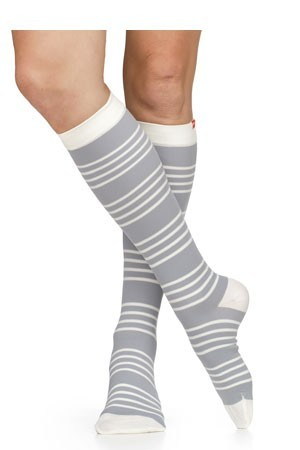 Vim & Vigr 20-30 mmHg Women's Stylish Compression Socks - Nylon (Fresh Stripe: Grey & Cream)