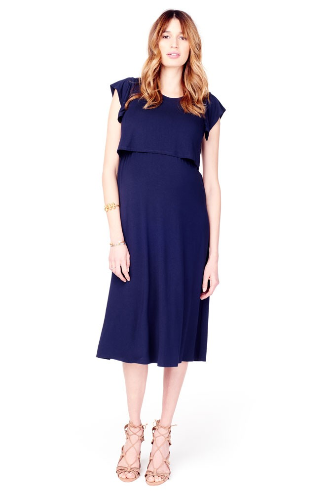 Ingrid & Isabel Double Layer Midi T-Shirt Maternity & Nursing Dress (True Navy)