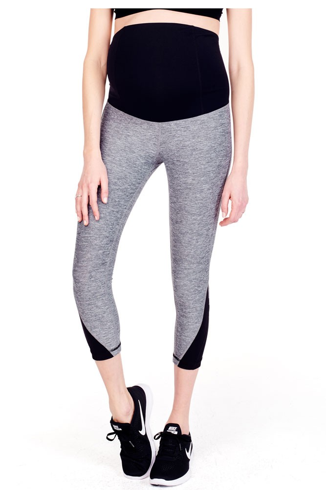 Ingrid & Isabel Active Maternity Capri With Mesh Insert & Crossover Panel (Charcoal Spacedye)