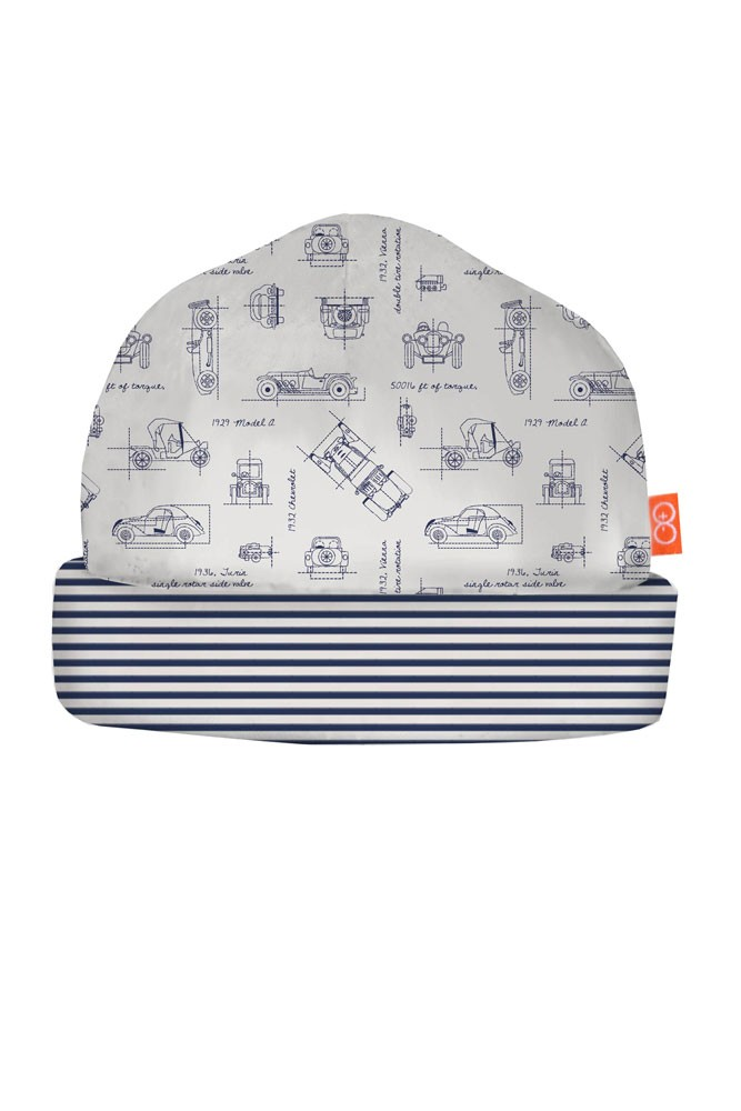 Magnetic Me™ by Magnificent Baby Boy Reversible Hat (Transportation Blue Print)