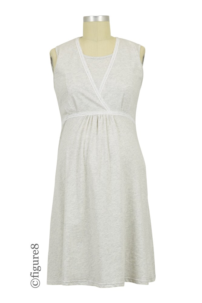 Spring Maternity Jane Maternity & Nursing Sleeveless Cotton Night Gown (Heather Grey)