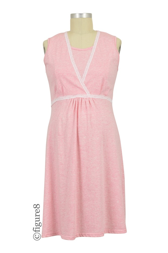 Spring Maternity Jane Maternity & Nursing Sleeveless Cotton Night Gown (Heather Pink)