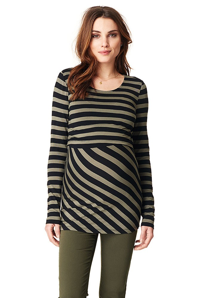 Harper Long Sleeve Stripes Maternity & Nursing top (Army Stripes)