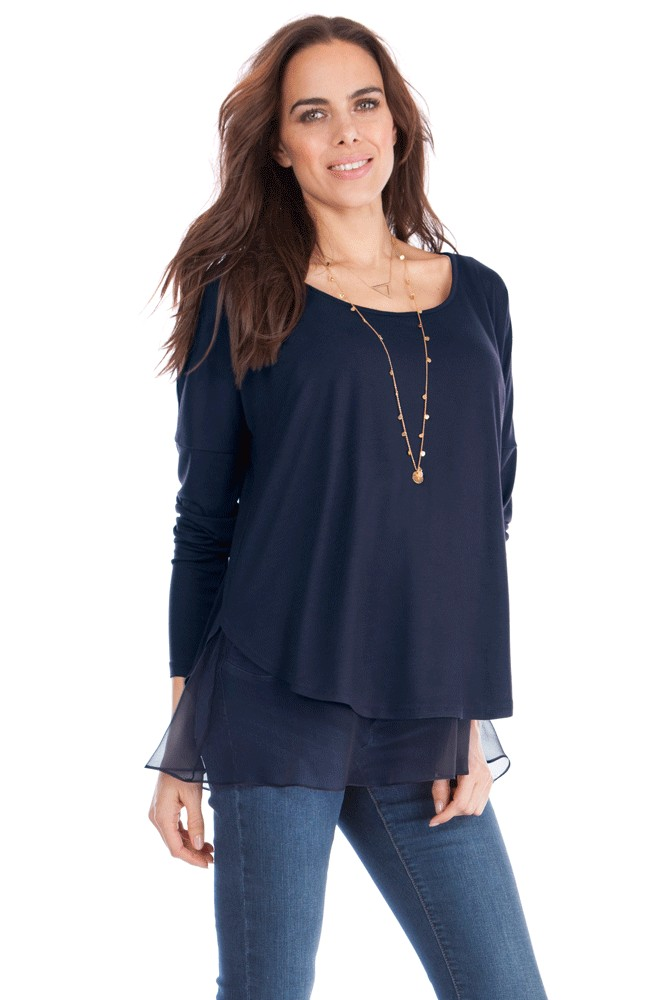 Seraphine Hilda Layered Nursing Top (Blue)