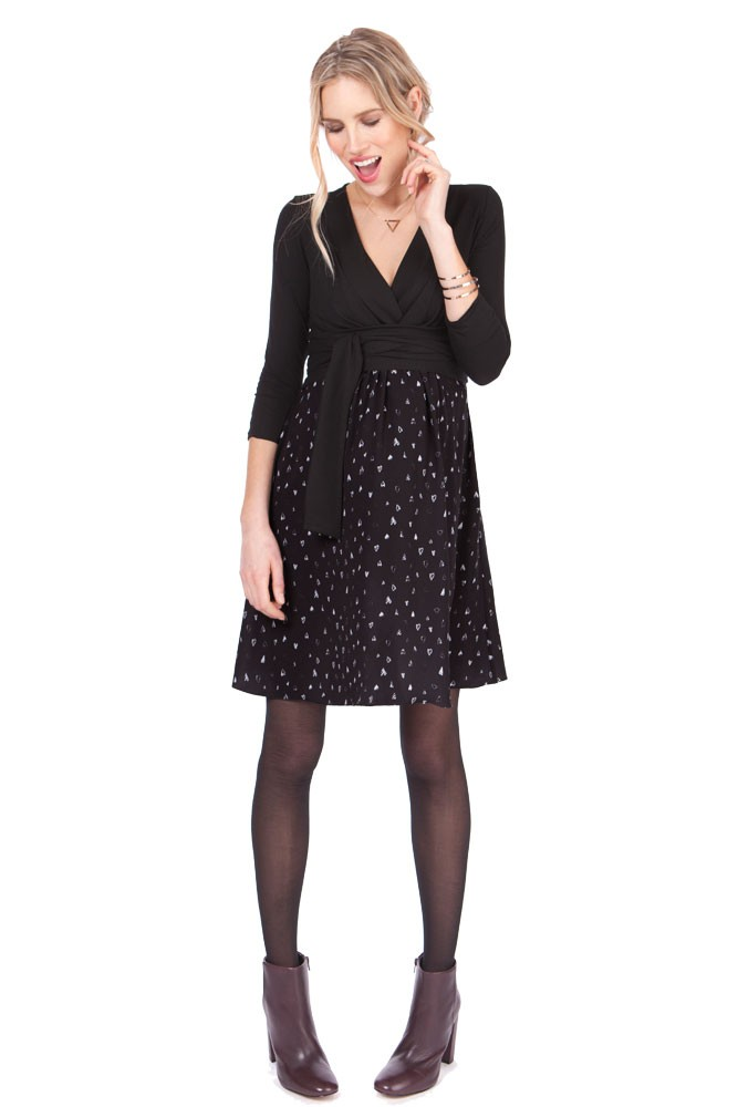 Seraphine Loveday Heart Print Maternity & Nursing Dress (Black/Print)
