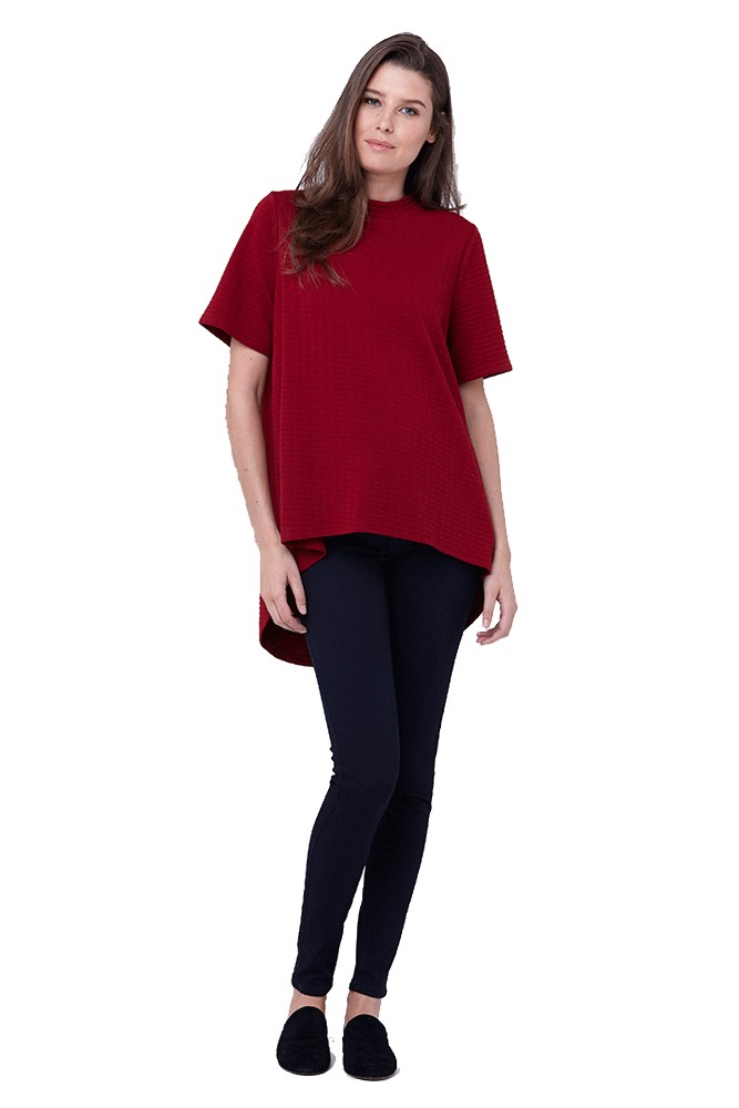 Mon Cherie Textured Swing Maternity Top (Crimson)