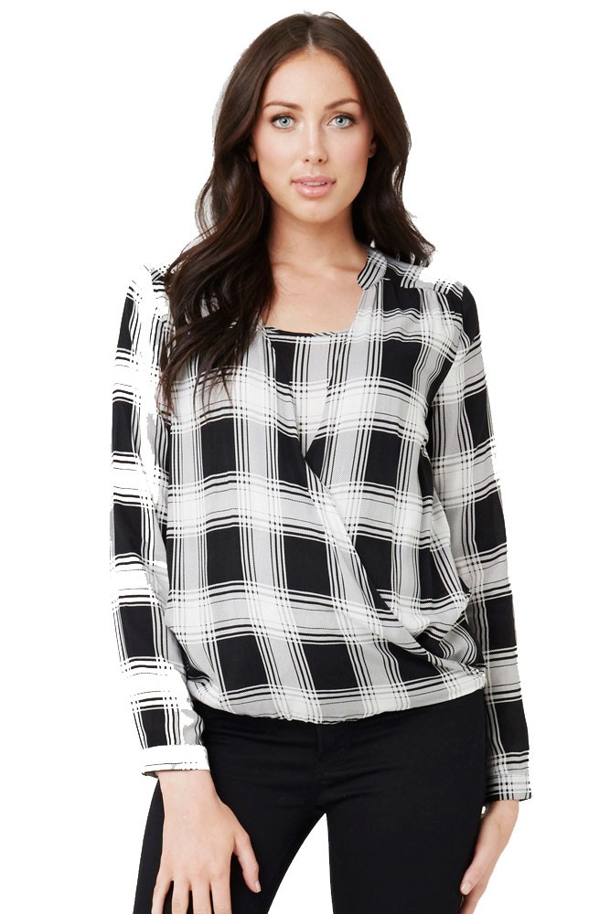 Mayfair Drapey Maternity & Nursing Blouse (Black/White)