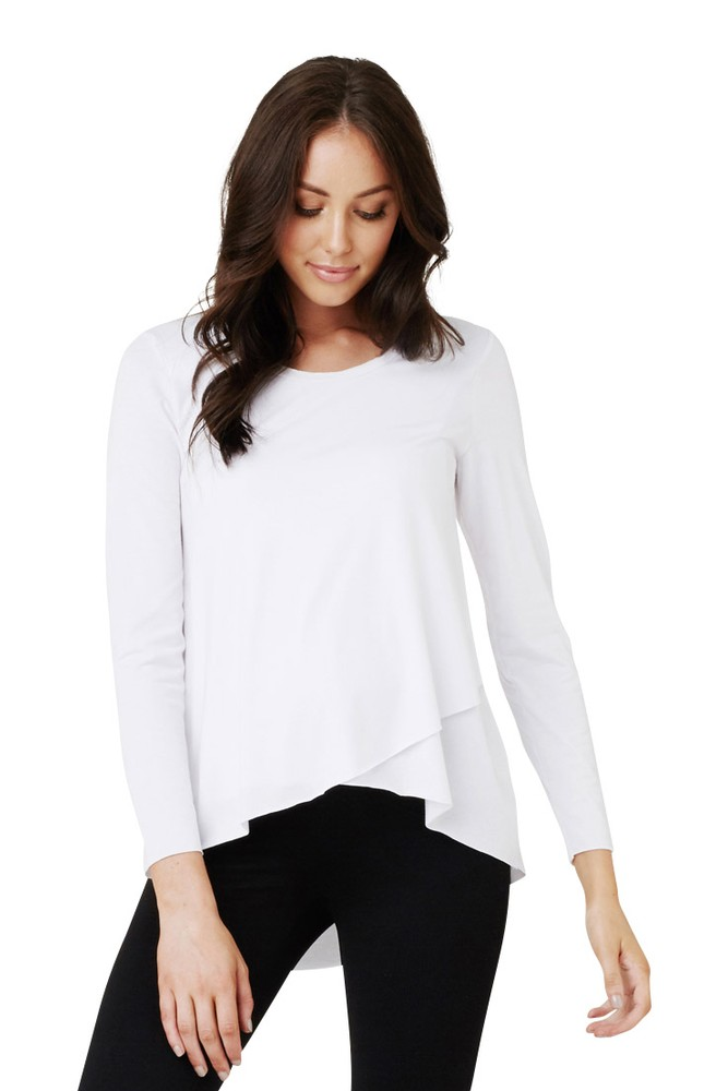 Sofia Raw Edge Hi-Lo Hem Nursing Top (White)