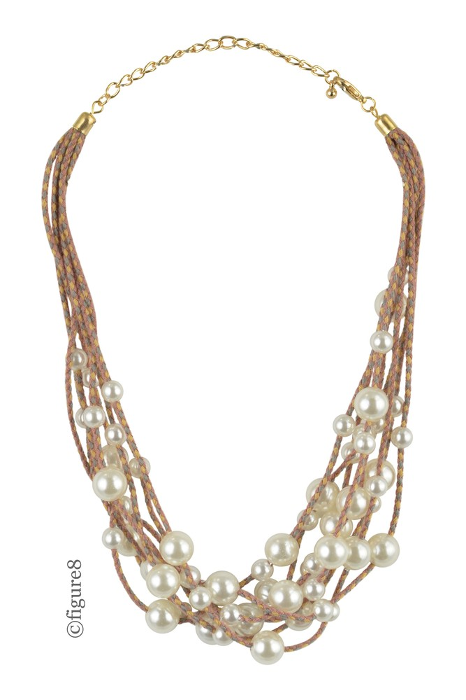 Faux Pearl Necklace Layered Rope Necklace (Faux Pearls)