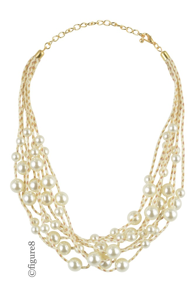 Faux Pearl Layered Necklace with White Rope (Faux Pearl)