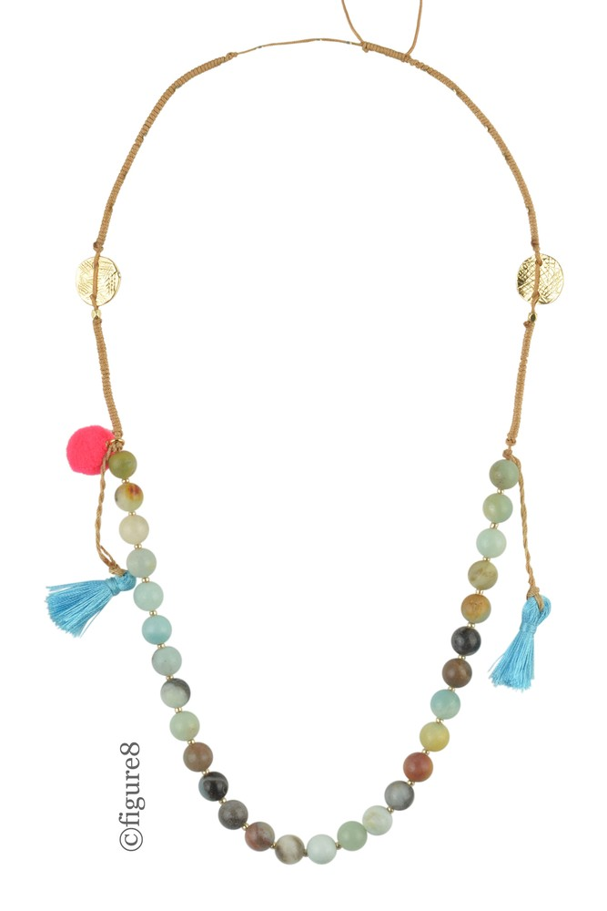 Multi-Colored Beaded Necklace with Pom-Poms & Tassels (Blue)