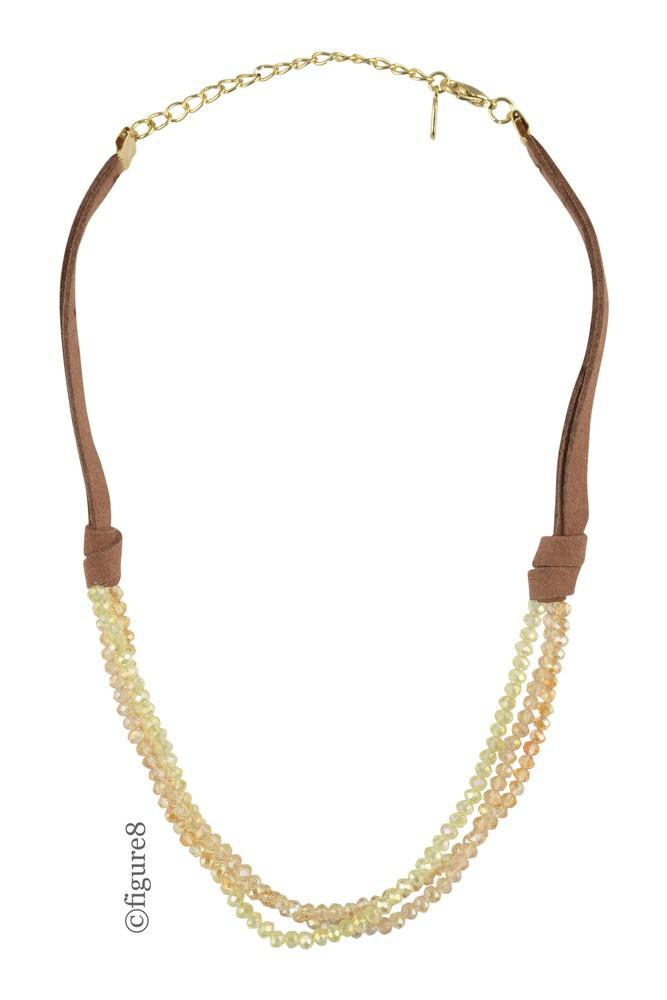 Wildflower Brown Rope Necklace with Crystal Beads (Yellow Beading)