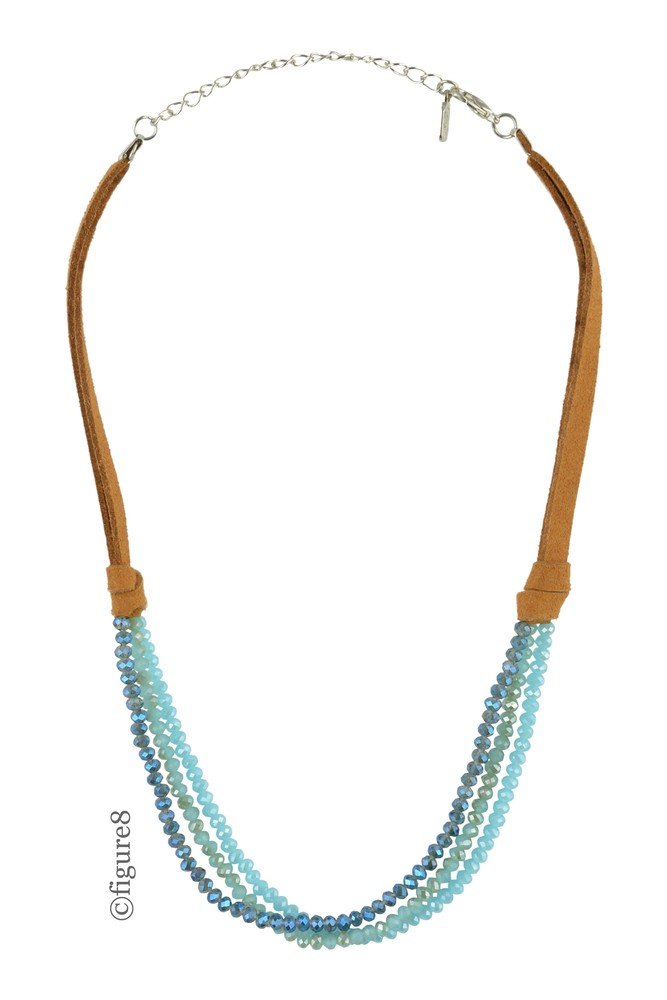 Wildflower Brown Rope Necklace with Beading (Turquoise Beading)