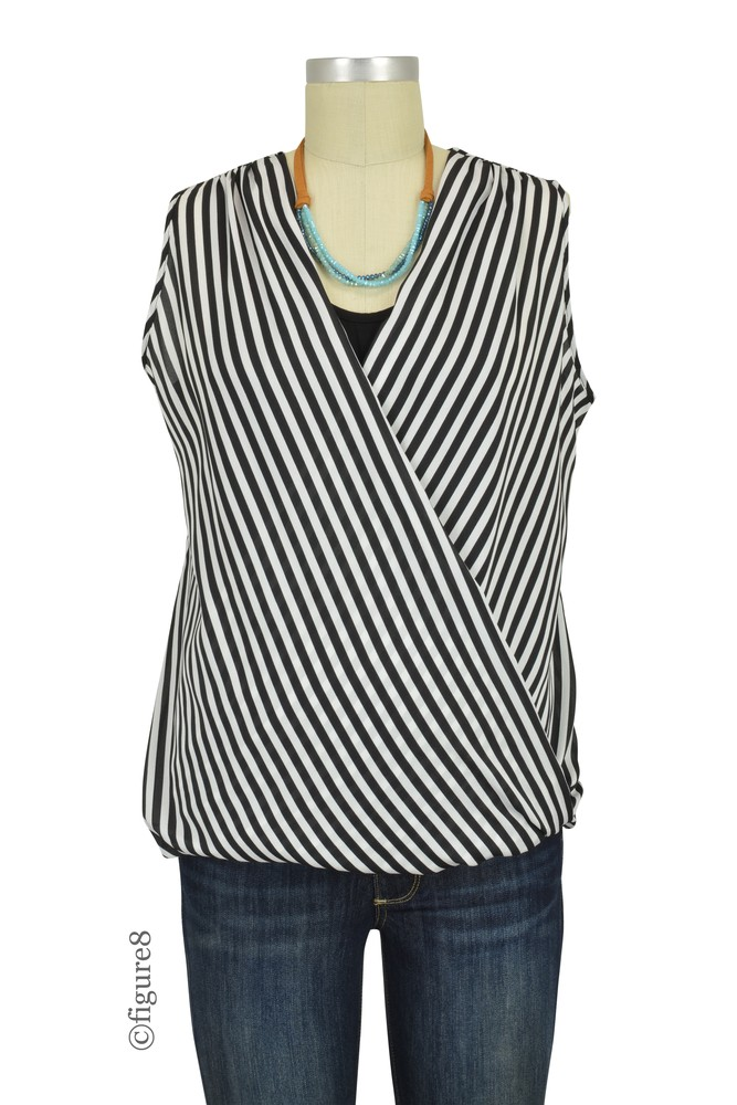 Sophie & Eve Maya Stripe Woven Stripes Nursing Blouson (Black & White Stripes)