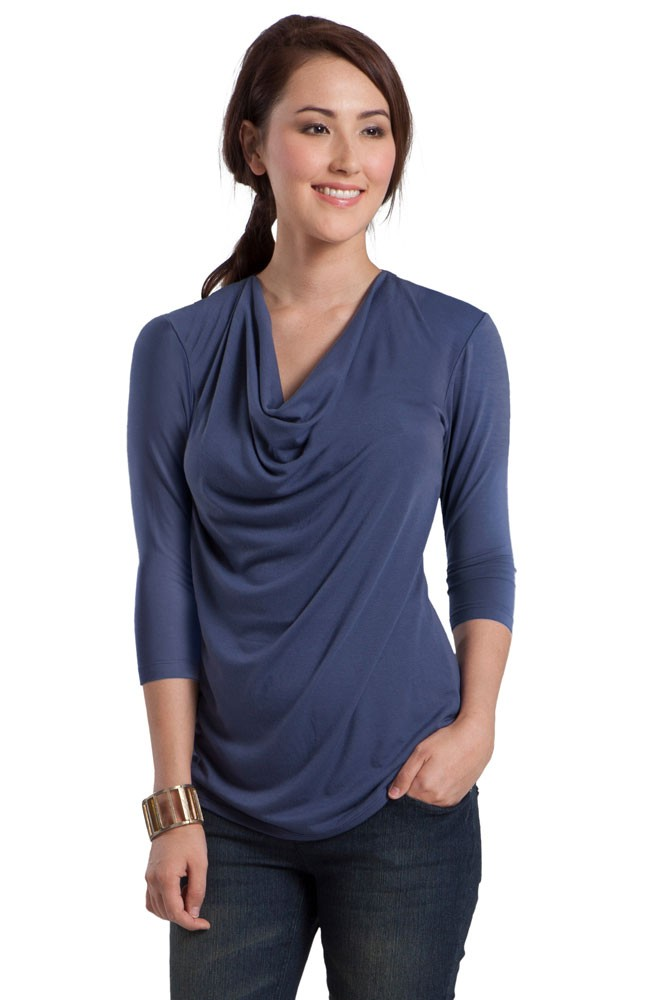 Bamboo Cowl Neck 3/4 Sleeve Maternity & Nursing Tee by Mothers en Vogue (Dutch Blue)