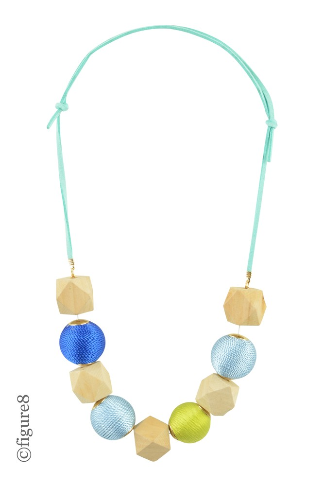 Geometric Beaded Necklace (Shades of Blue)