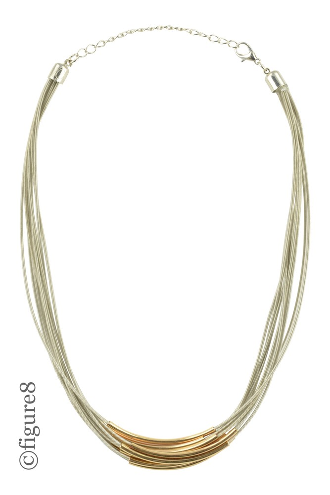 Heather Slinky Necklace with Gold Bar Accents (Silver w/ Gold Accents)
