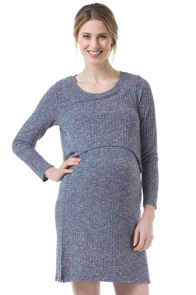Colleen Maternity & Nursing Ribbed Sweater Dress (Blue Heather)