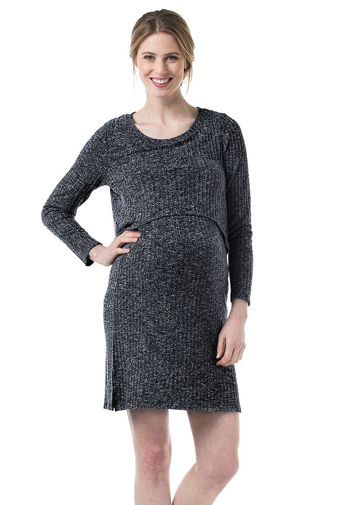 Colleen Maternity & Nursing Ribbed Sweater Dress (Grey Heather)