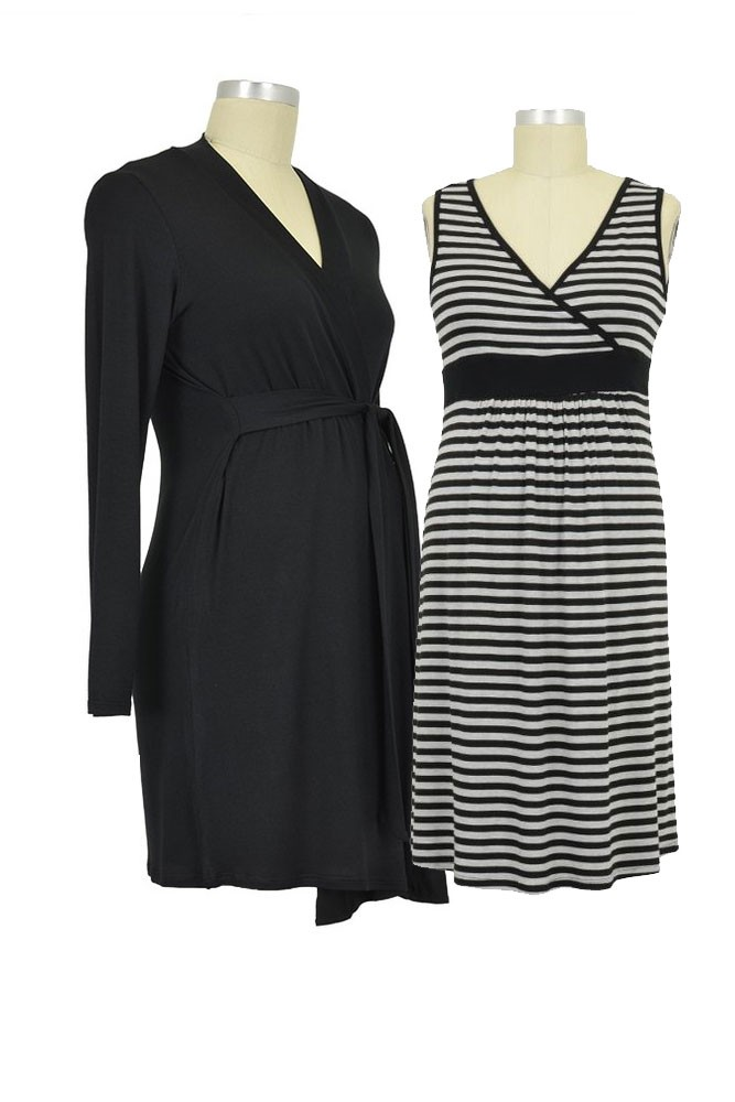 Baju Mama Jane 2-Pc. Modal Nursing Chemise & Robe Set (Heather Grey / Black Stripes)