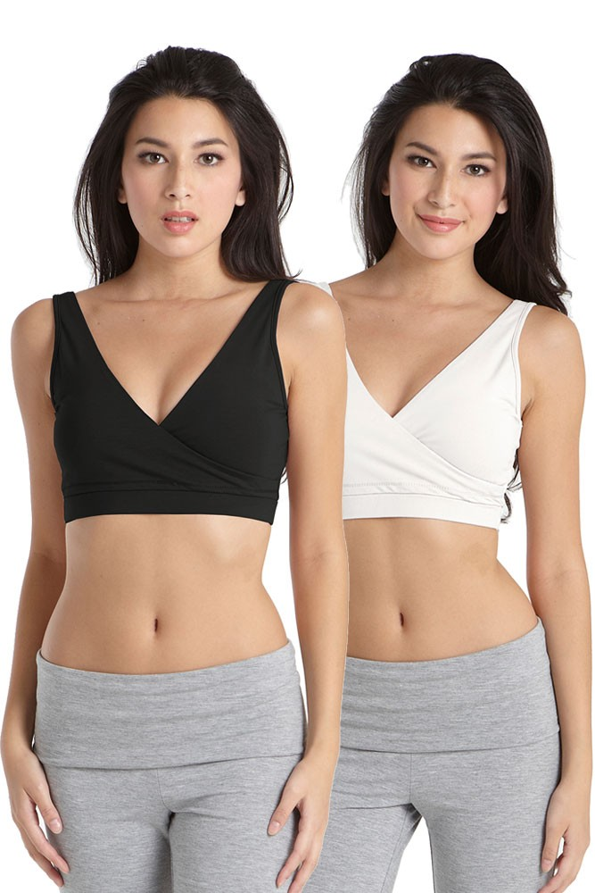 Cross-Front Cotton Sleep Bra by Mothers en Vogue - 2 Pack (Black & White)