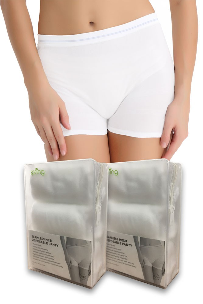 Molly High Waist Seamless Mesh Disposable Delivery Panty (6 pk.) (White- 6-pack)