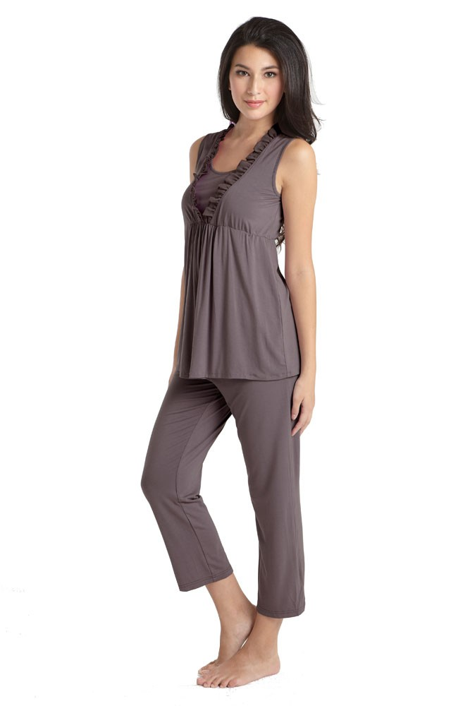 Chiffon Trim Bamboo Maternity & Nursing PJ Set with Robe (3 pc.) (Zinc)