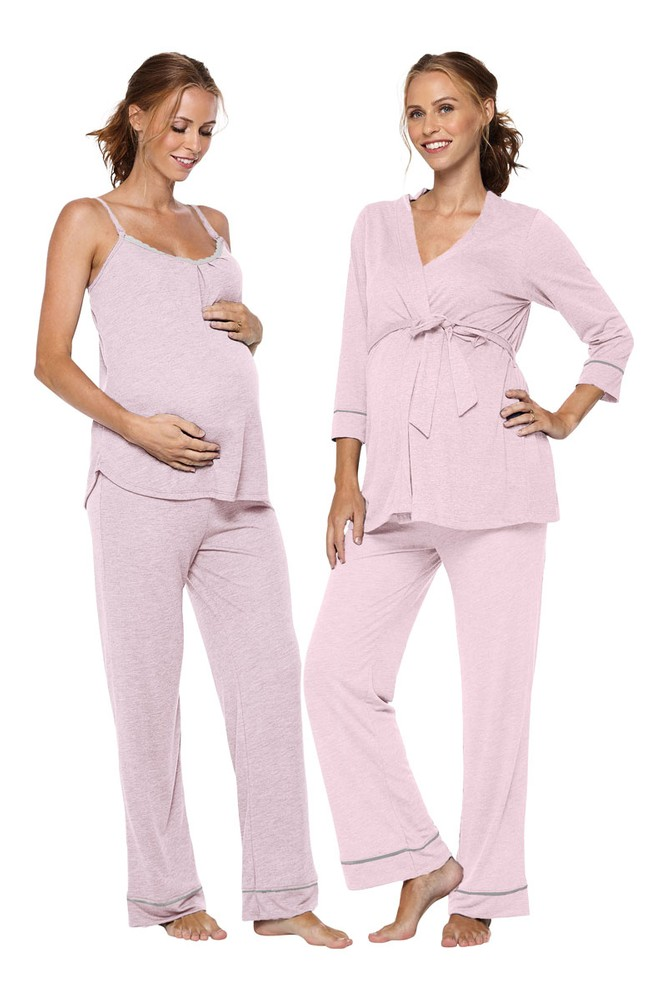 Belabumbum Lounge Chic Maternity & Nursing 3-pc. Pajama & Robe Set (Pink Marle)