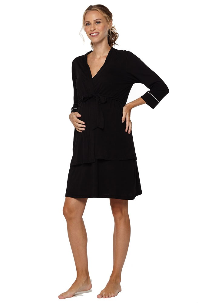 Belabumbum Lounge Chic Maternity & Nursing Nightie & Robe 2-piece Set (Black)