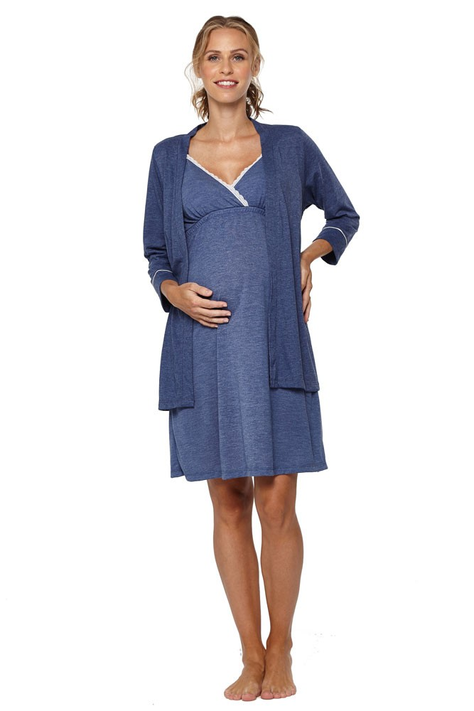 Belabumbum Lounge Chic Maternity & Nursing Nightie & Robe 2-piece Set (Chambray)