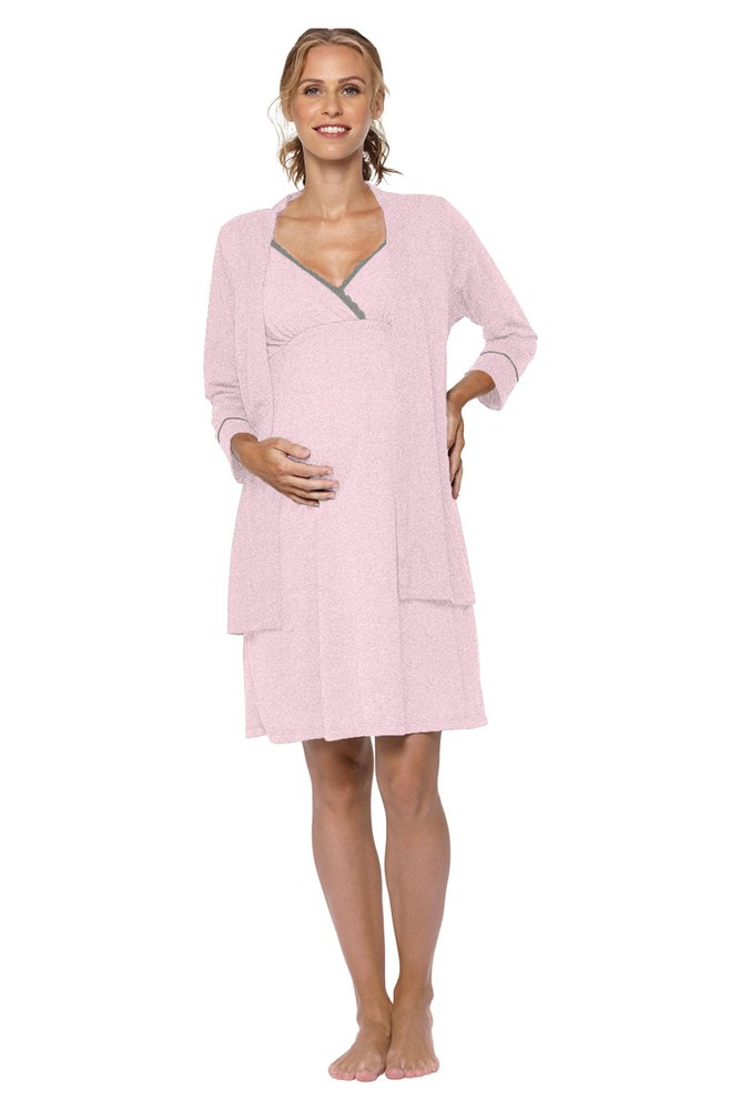 Belabumbum Lounge Chic Maternity & Nursing Nightie & Robe 2-piece Set (Pink Marle)