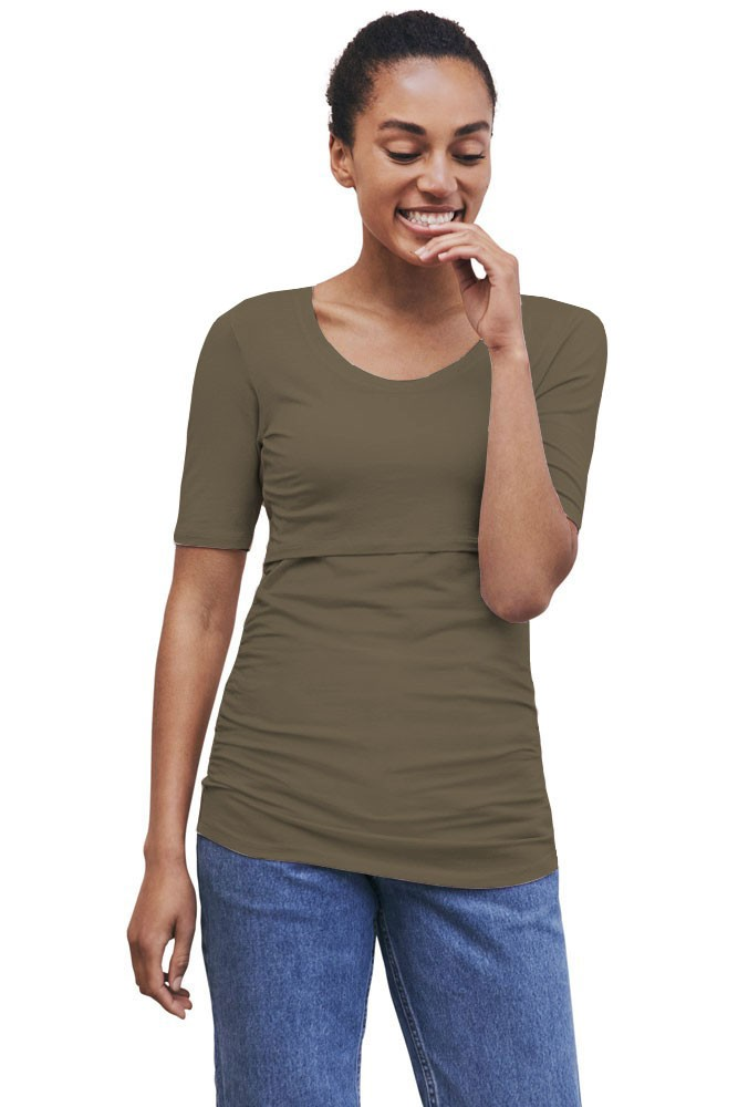 Boob Design Flatter Me Ruched Short Sleeve Maternity & Nursing Top (Dusty Olive)
