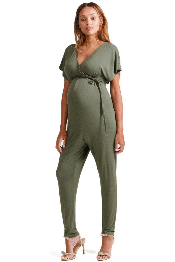 Ingrid & Isabel Crossover Maternity & Nursing Friendly Jumpsuit (Olive)