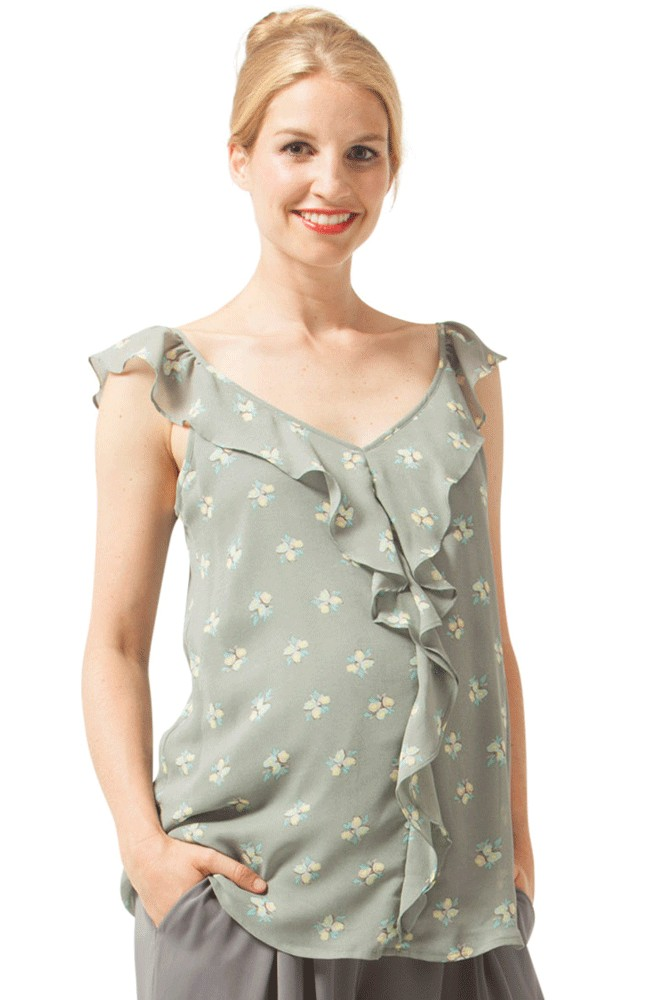Yvette Ruffles Woven Maternity & Nursing Top (Grey Floral)